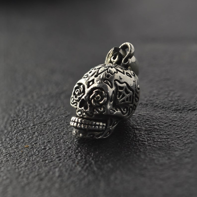Mens Silver Skull Pendent Day of the Dead Pendent Mens Silver Pendent 925 Sterling Silver Skull Mens Skull Necklace Cool Men