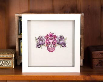 sugar skull original art framed