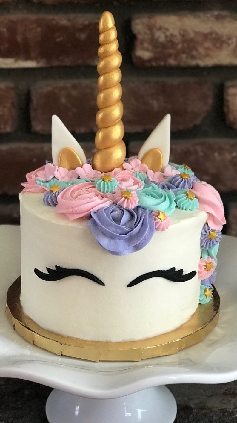c3b964df1396d unicorn horn cake topper, horn, ears and lashes gold silver or custom  colors FREE SHIPPING!