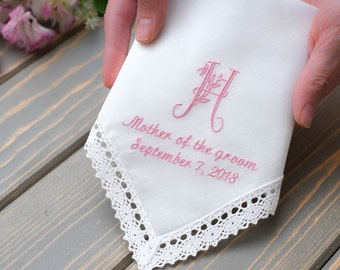 Monogram Mother of the Groom gift / Mother of the Bride gift. Gift from Bride to Mother Handkerchief. Embroidered Wedding hankie.Gift to mom