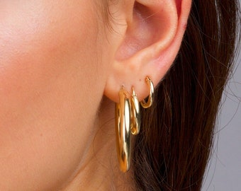 158e2ed9935 Gold Chunky Stacking Hoops