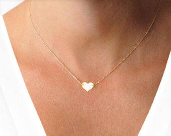 Engraved Necklace, Couple Necklace, Engagement Gift, Personalized Necklace, Gold Bridesmaids Necklace, Dainty Heart Necklace, Gold Necklace
