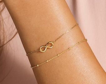 Gift Infinity Bracelet, Sister Mother Gift Bracelet, Wife Jewelry Gift, Gold Infinity Bracelet, Dainty Linked Infinity Bracelet, Silver