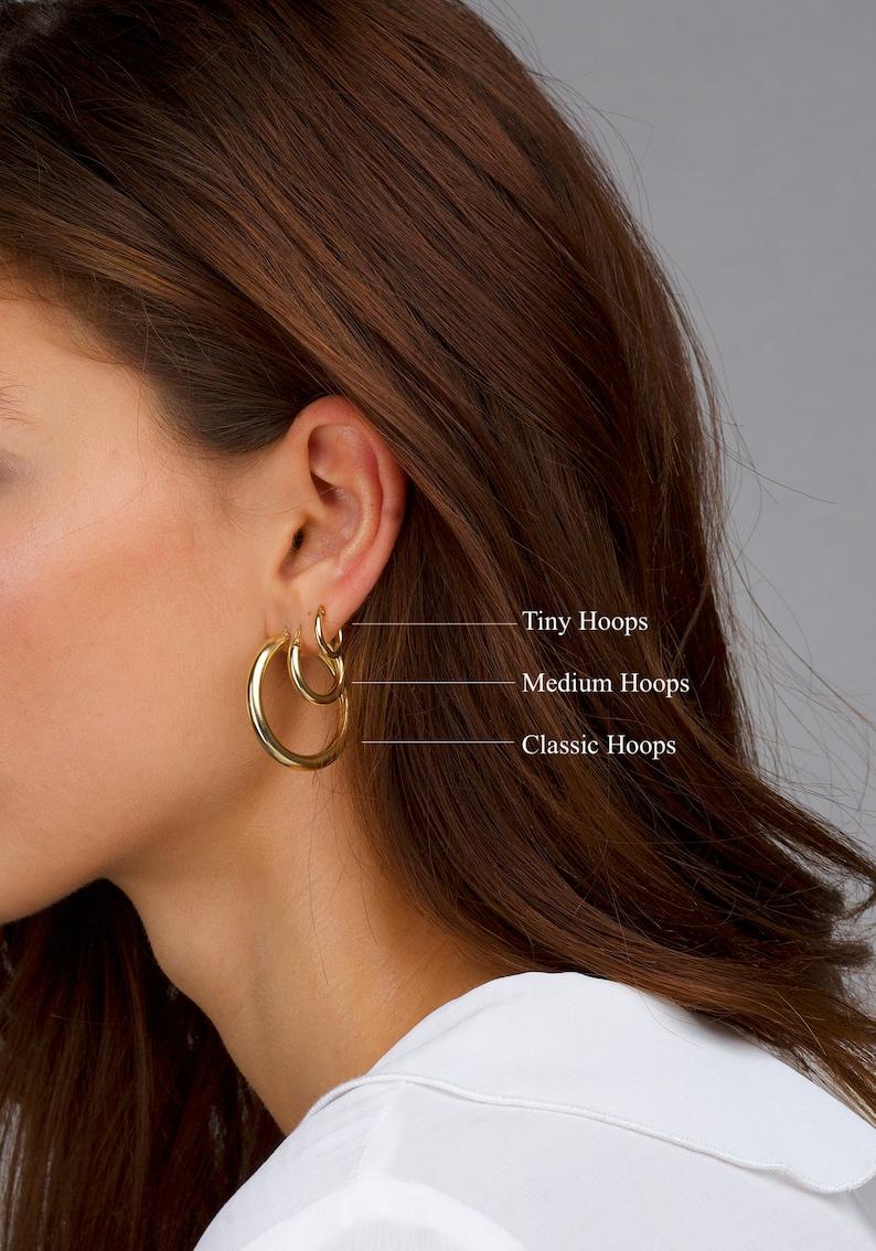 Earring Gold Hoops Sterling Silver Hoops Classic Modern Hoop Earrings Stacking Hoops Vermeil Hoops Hoops Gold Chunky Stacking Hoops