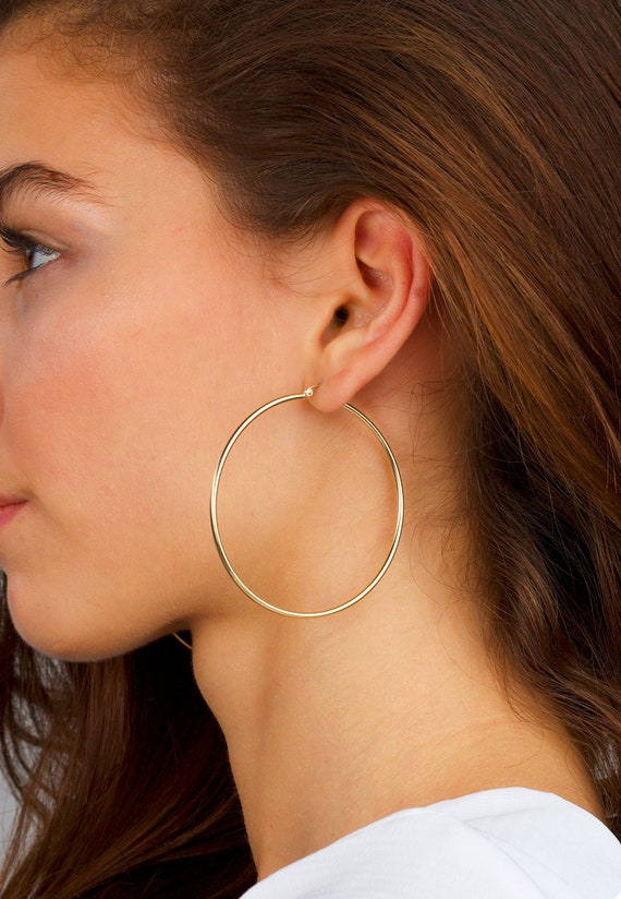 Large Hoop Earrings 2 large thin gold hoops minimalist earrings Thin Gold Hoop Earrings gold earrings