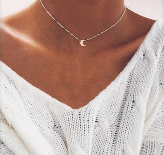 Moon Necklace, Dainty Moon Necklace, Choker Moon Necklace, Delicate Moon Necklace, Simple Moon Necklace, Silver Moon Necklace, Crescent Moon by Etsy