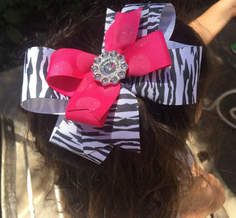 4244430bb Animal print bow zebra print bow hot pink hairbow zebra and | Etsy