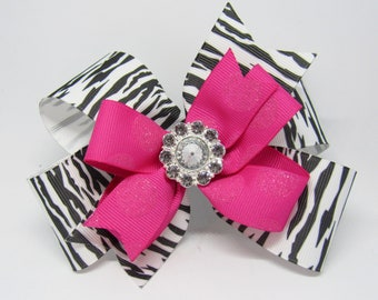 Animal print bow, zebra print bow, hot pink hairbow, zebra and pink bow, girl's hairbow, pink zebra bow, hot pink hairbow