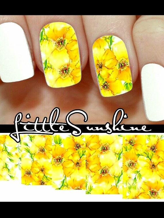 Nail Art Water Transfer Stickers Yellow Flowers Floral Etsy