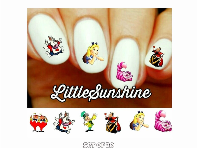 Alice in Wonderland, Cheshire, Mad Hatter, Queen of Hearts Assorted Water  slide Nail Decals
