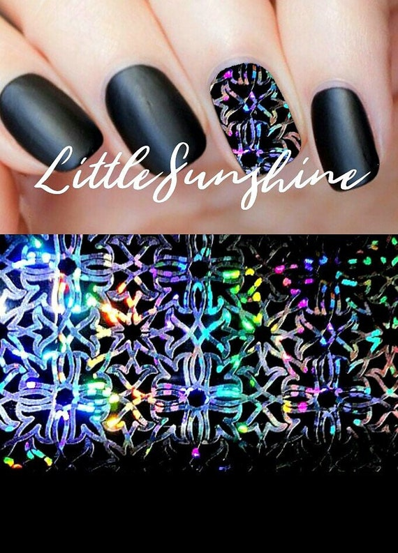 Holographic Nails Nail Art Foil Nail Transfer Foil Starry Etsy