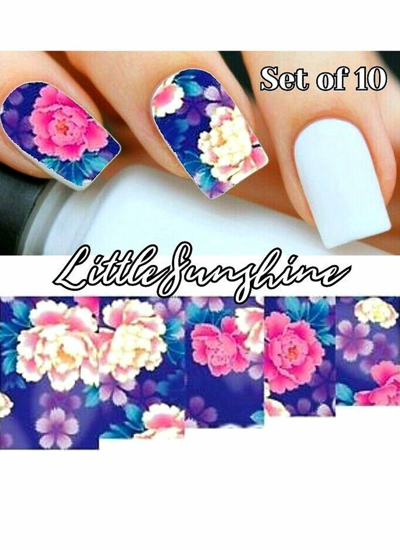 Press on Nail Stickers - Custom Nail Decals - Gel Nail Decals - FLOWERS -  A150