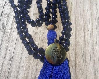 Mala Beads 108 Blue Goldstone Mala   108 mala hand knotted, pyrite, yoga meditation mala, beaded necklace, tassel necklace, blue beaded, om