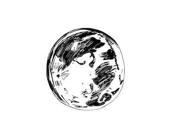 Moon Line art, Digital Print, Printable Art, Digital Download
