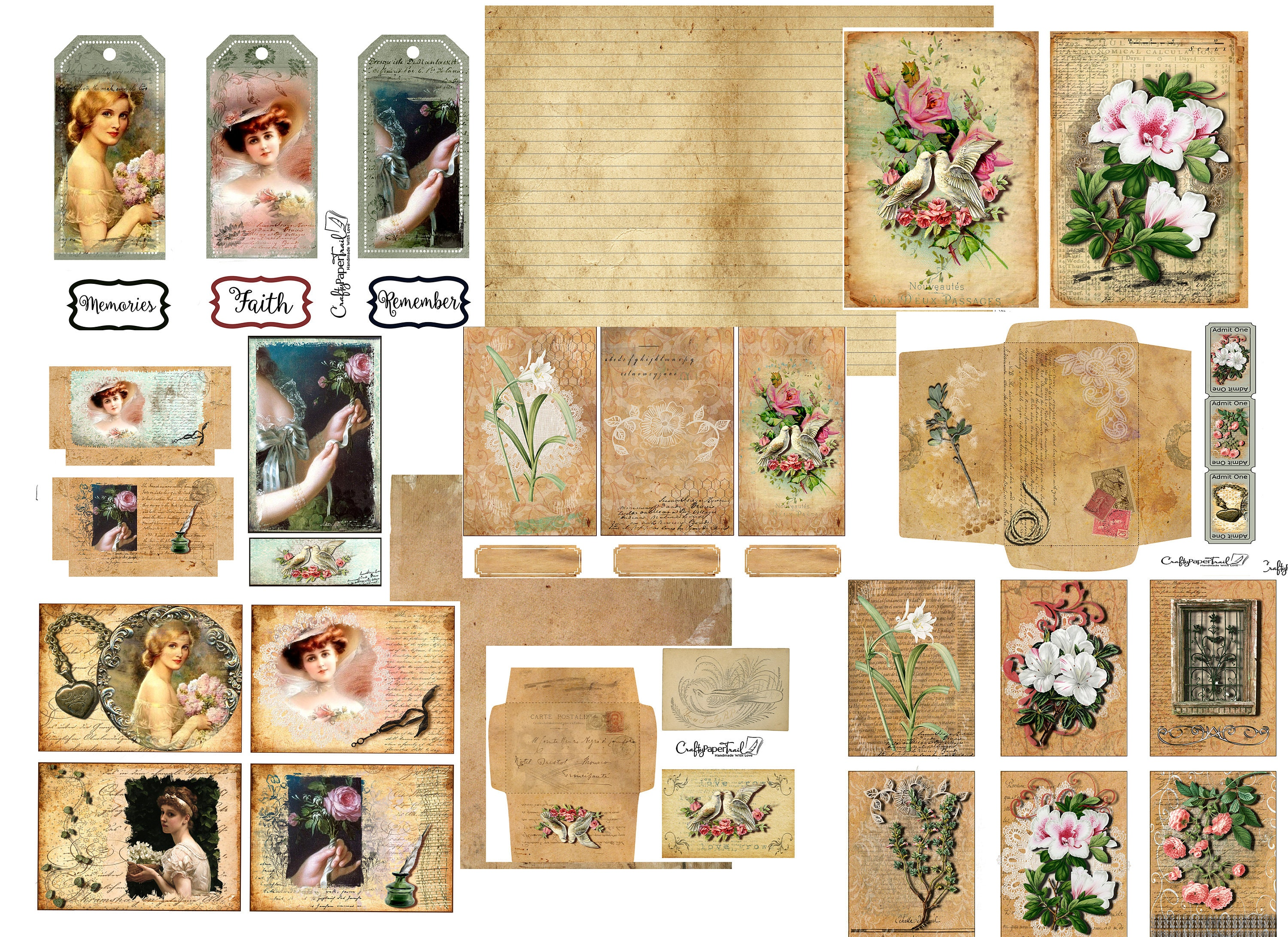 A Vintage Ladies Botanical Digital Junk Journal kit ~ Add on   Journal  cards, Tags,envelopes,ephemera,pockets