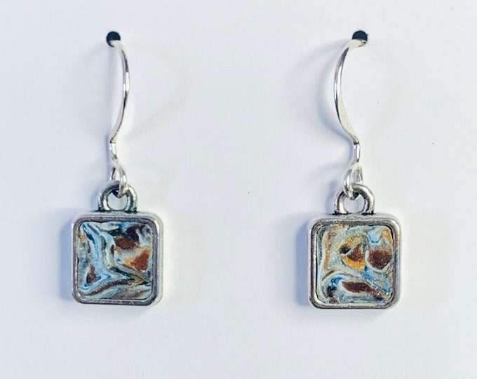 Handcrafted Square Earrings In Various Clay Colors - Sterling Silver Hooks - Silver Plate Nickel Free Frame - One of a Kind-Unique Gift