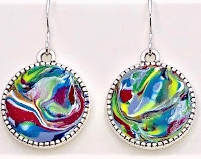 Earrings in Various Colors Double Sided  - Sterling Silver Hooks Silver Plate Nickel Free Frame - One of a Kind-Unique Gift