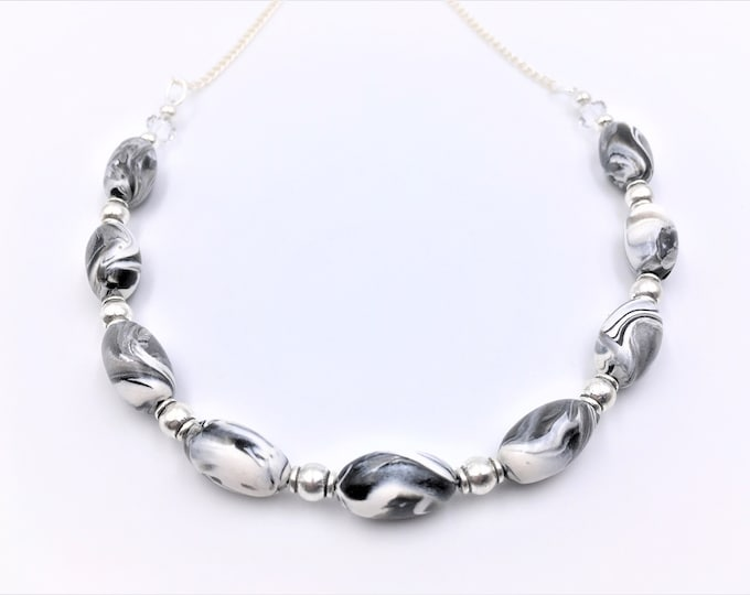 Handcrafted Necklace in Various Clay Colors and Bead Styles - Silver Plate Nickel Free Chain - One of a Kind-Unique Gift - Eight Styles
