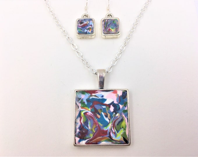 Mix of 16 Colors Handcrafted Silver Plate Polymer Clay Pendant and Earrings - Sterling Silver Earring Hooks - One of a Kind - Unique Gift