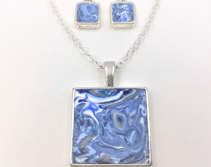 Blue/White/Silver Handcrafted Silver Plate Polymer Clay Pendant and Earrings - Sterling Silver Earring Hooks - One of a Kind - Unique Gift