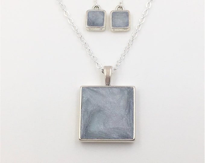 Ice Blue/Silver Handcrafted Silver Plate Polymer Clay Pendant and Earrings - Sterling Silver Earring Hooks - One of a Kind - Unique Gift