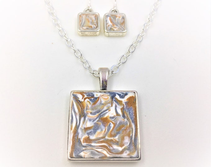 Gold/Silver/White Handcrafted Silver Plate Polymer Clay Pendant and Earrings - Sterling Silver Earring Hooks - One of a Kind - Unique Gift
