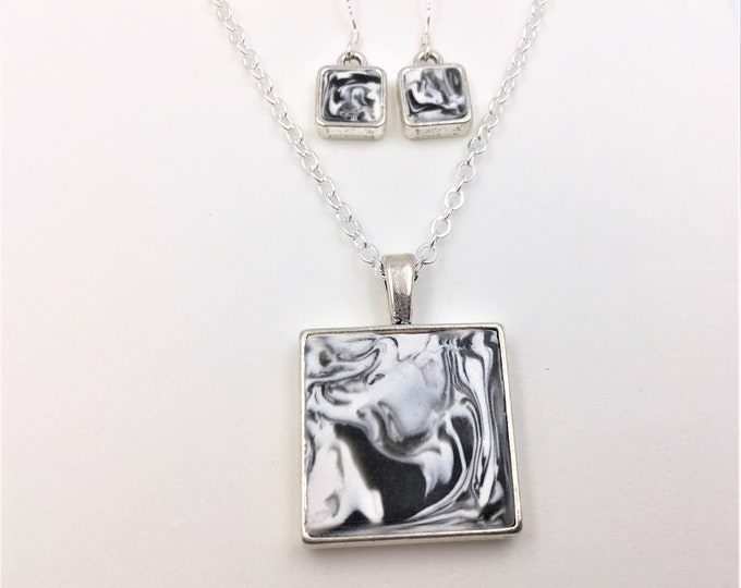 Black & White Handcrafted Silver Plate Polymer Clay Pendant and Earrings - Sterling Silver Earring Hooks - One of a Kind - Unique Gift