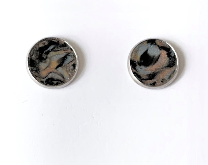 Handcrafted Button Earrings in Various Clay Colors - Silver Plate Nickel Free Frame - Comfortable Backs - One of a Kind-Unique Gift