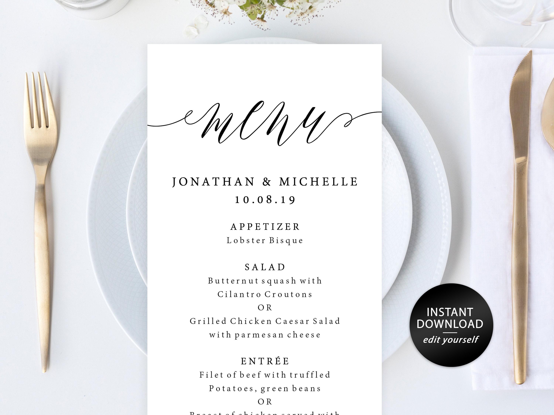 Wedding Menu Template DIY Printable