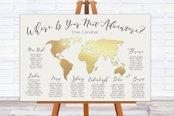 World map seating chart travel theme wedding where in the gumiabroncs Choice Image
