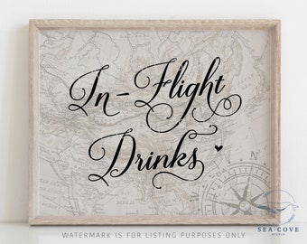 Inflight Drinks Sign, Travel Theme Bridal Shower, Bridal Shower Decor, Destination Bridal Shower, Travel Wedding, Instant Download