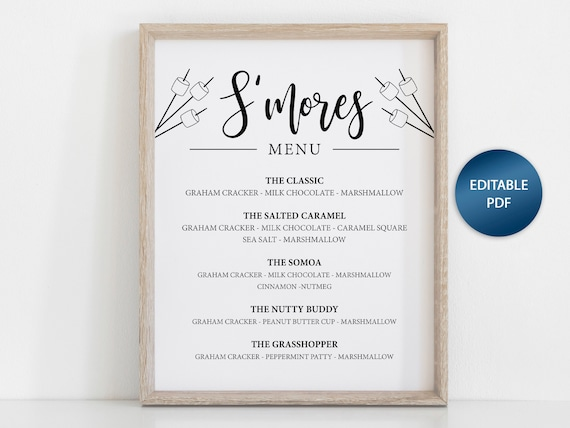 picture relating to Printable Marshmallow Template titled Smores Menu,Smores Menu Printable, Smores Bar, Marriage ceremony Printable, Outside Social gathering, Rustic Marriage ceremony, Reception Signs and symptoms, Fast Down load Menu