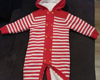 7341250a3eb Christmas Winter Romper Baby Boy Girl Lovely Knitted Cotton   Fleece Hood  Long Sleeves Red and White Stripes