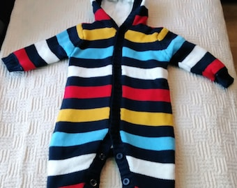 74e0b1d68f6 Christmas Winter Romper Baby Boy Girl Lovely Knitted Cotton   Fleece Hood  Long Sleeves Multicolor Blue Yellow White Stripes