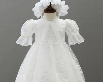 4ba9810124a8 Christening Gown & Bonnet, Grace Baptism Gown, Lace Christening Gowns Baby  Infant Girl Baptism Dress Flower Newborn Gown White Lace