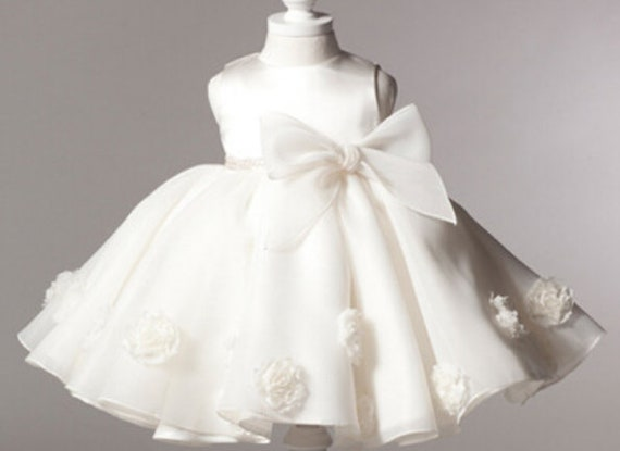 Boutique Girls Dress Birthday Baptism Wedding Party White Color Tulle Ball Gown Huge Bow Flowers
