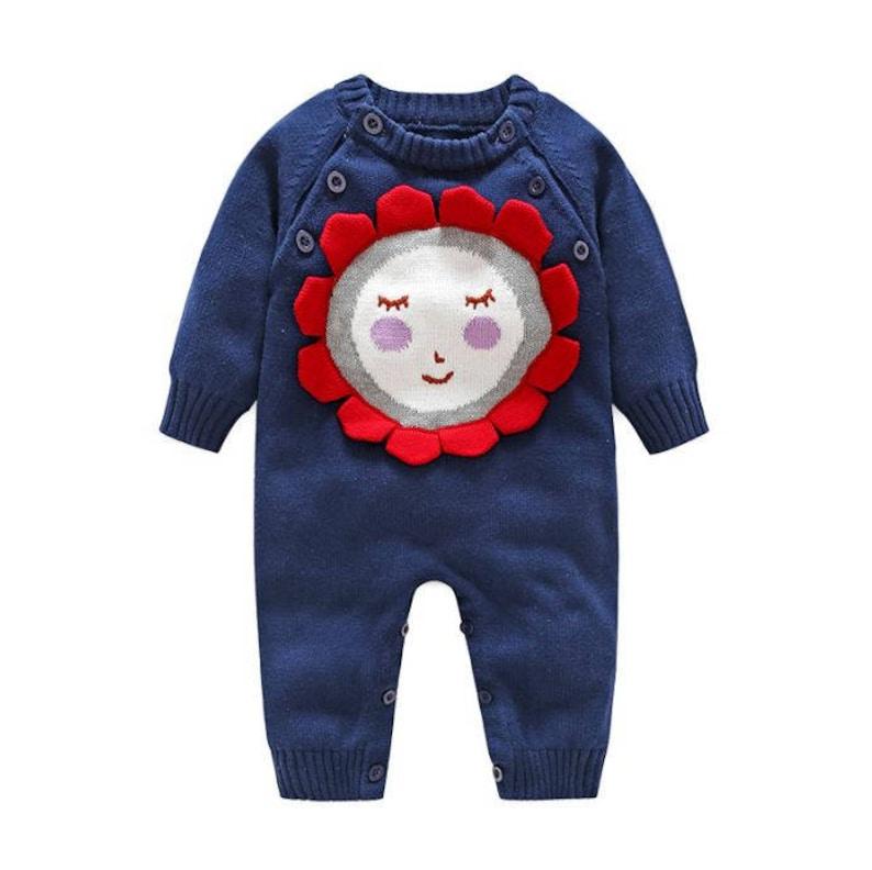 Baby Winter Romper Boy Girl Lovely Knitted Long Sleeves Navy Blue Romper
