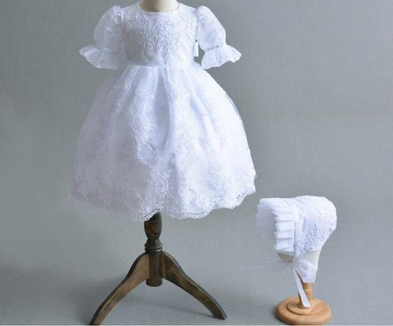 White Vintage Infant Christening Dresses Lace Appliques Toddler Baptism Gowns