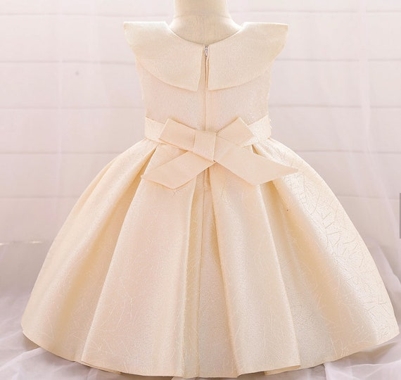 Boutique Girls Dress Birthday Baptism Wedding Party Flower Girl Champagne Color Ball Gown Front Bow Back Sash