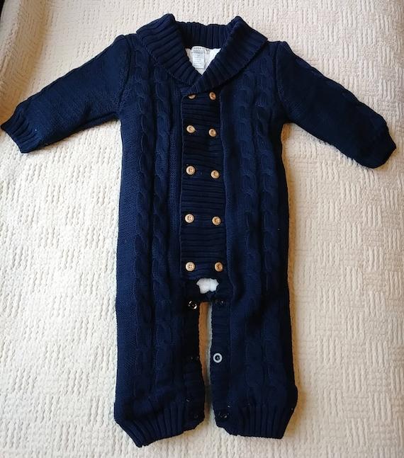 306d39d3822 Navy Blue Baby Winter Romper Boy Girl Lovely Knitted Cotton