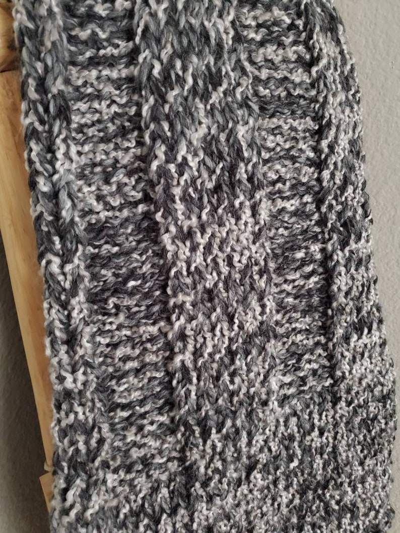 Wide Ribbed Throw Blanket with Fringe  Throw Blanket  Afghan  Knitted Throw  Handmade Blanket