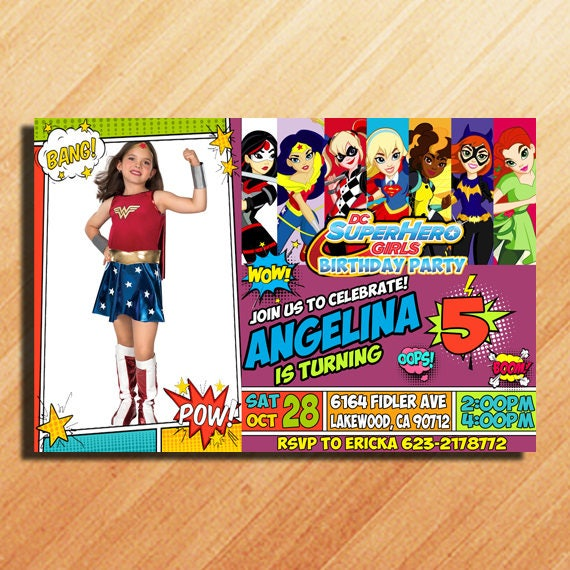 dc superhero girls birthday invitations dc superhero girls etsy