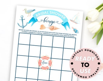 nautical bridal shower bingo bingo cards printable wedding shower games bridal decor bingo printable nautical bingo wedding games