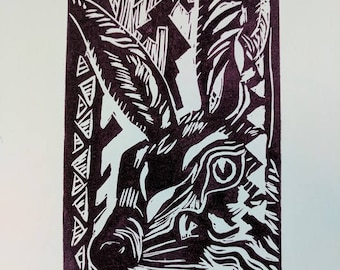 Lino Print - The Hare - A furry ever watchful