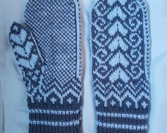 Flying Hearts Hand-Knitted Mittens