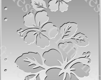 Hibiscus stencil 19.5cm x 13cm