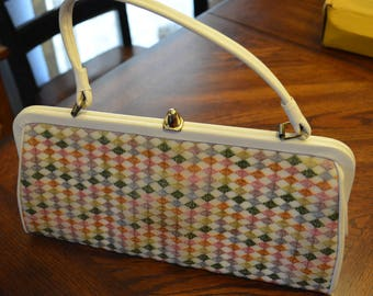FLECHBILT handbags vintage purse, hard frame with fabric cover, Multicolor pattern, Great condition, clean