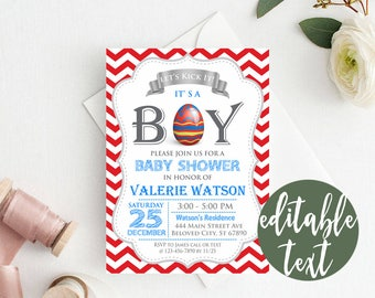 EDITABLE Easter Baby Shower Invitation, RED Chevron Baby Shower Invitation, Easter Eggs Baby Shower Invitation, Boy Baby Shower Invitation