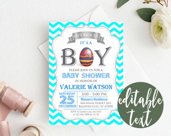 EDITABLE Easter Baby Shower Invitation, AQUA Chevron Baby Shower Invitation, Easter Eggs Baby Shower Invitation, Boy Baby Shower Invitation