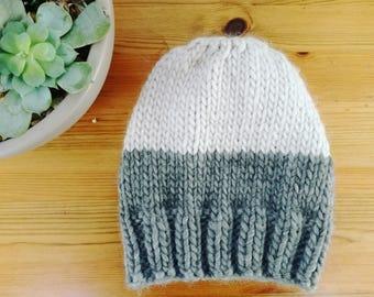 Grey and white beanie hat. Handmade. Chunky. 100% Merino Wool